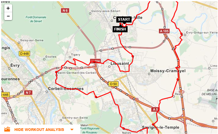 Parcours CLV-Brie Comte R-Evry G-Savigny-Saint Germain-Lieusaint