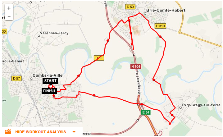 Parcours CLV-Brie Comte Robert - Evry Gregy et retour