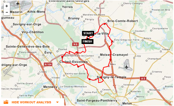 Parcours CLV-Brie Comte Robert-Evry Gregy-Savigny-Saint Germain
