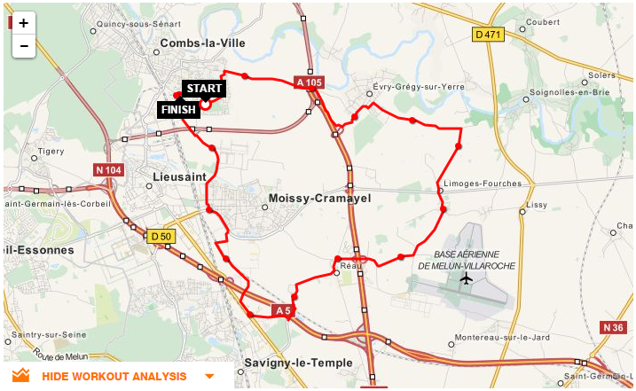 Parcours CLV-Evry Gregy-Limoges-Savigny-Moissy
