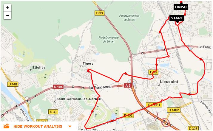 Parcours CLV-Saint Pierre-Tigery-Lieusaint