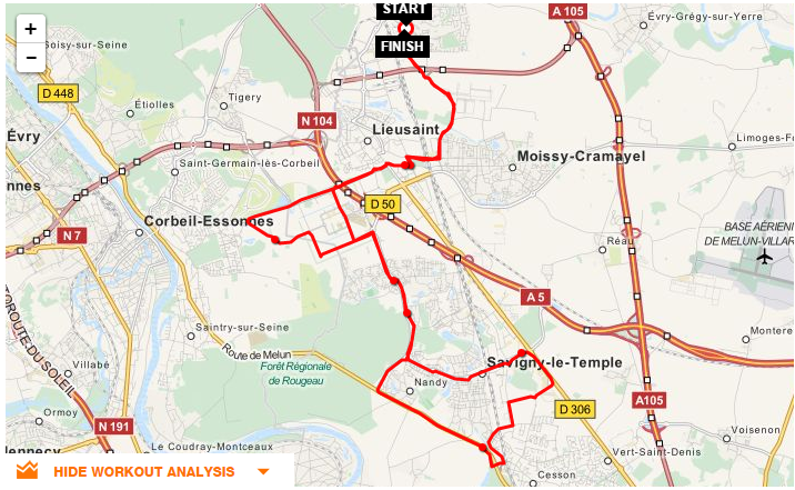 Parcours CLV-SaintPierre-Nandy-Cesson et retour
