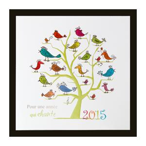 Carte voeux 2015 arbre et oiseaux
